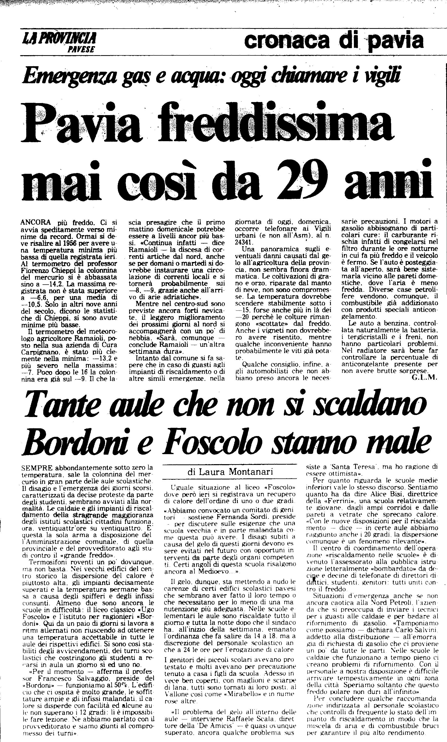 Un articolo del 13 Gennaio 1985 de