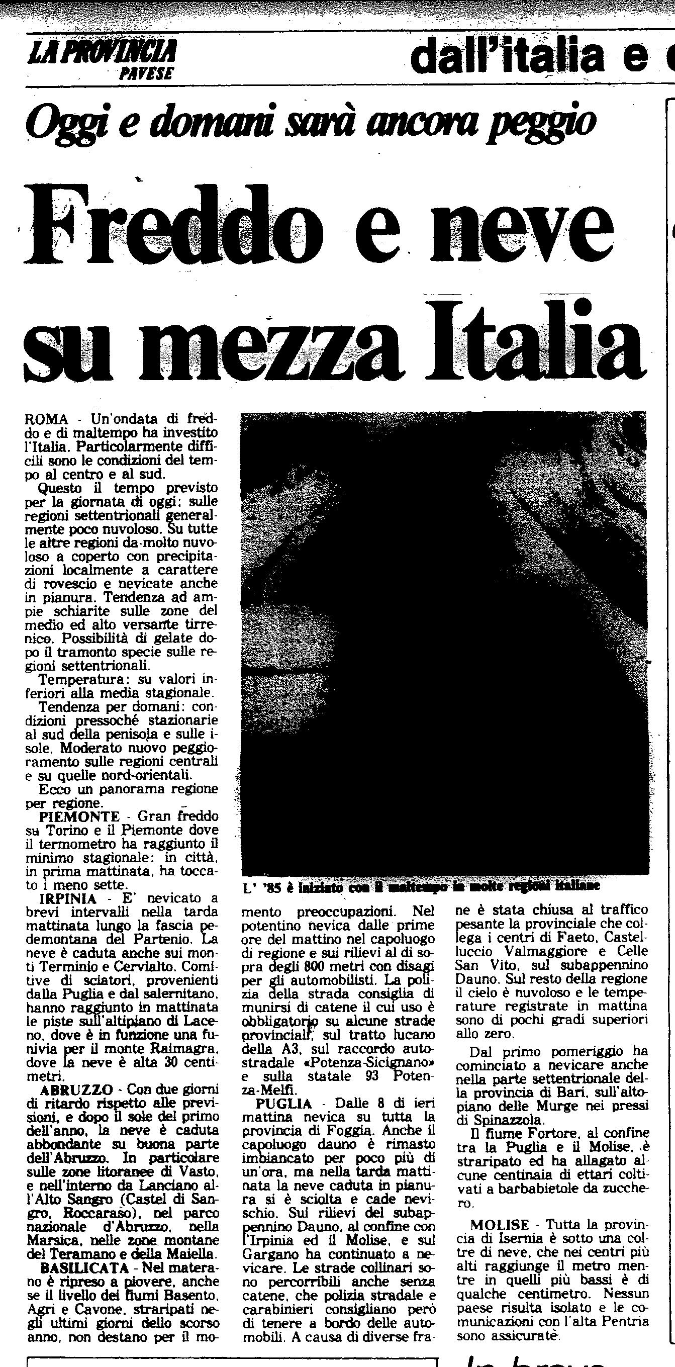 Un articolo del 3 Gennaio 1985 de