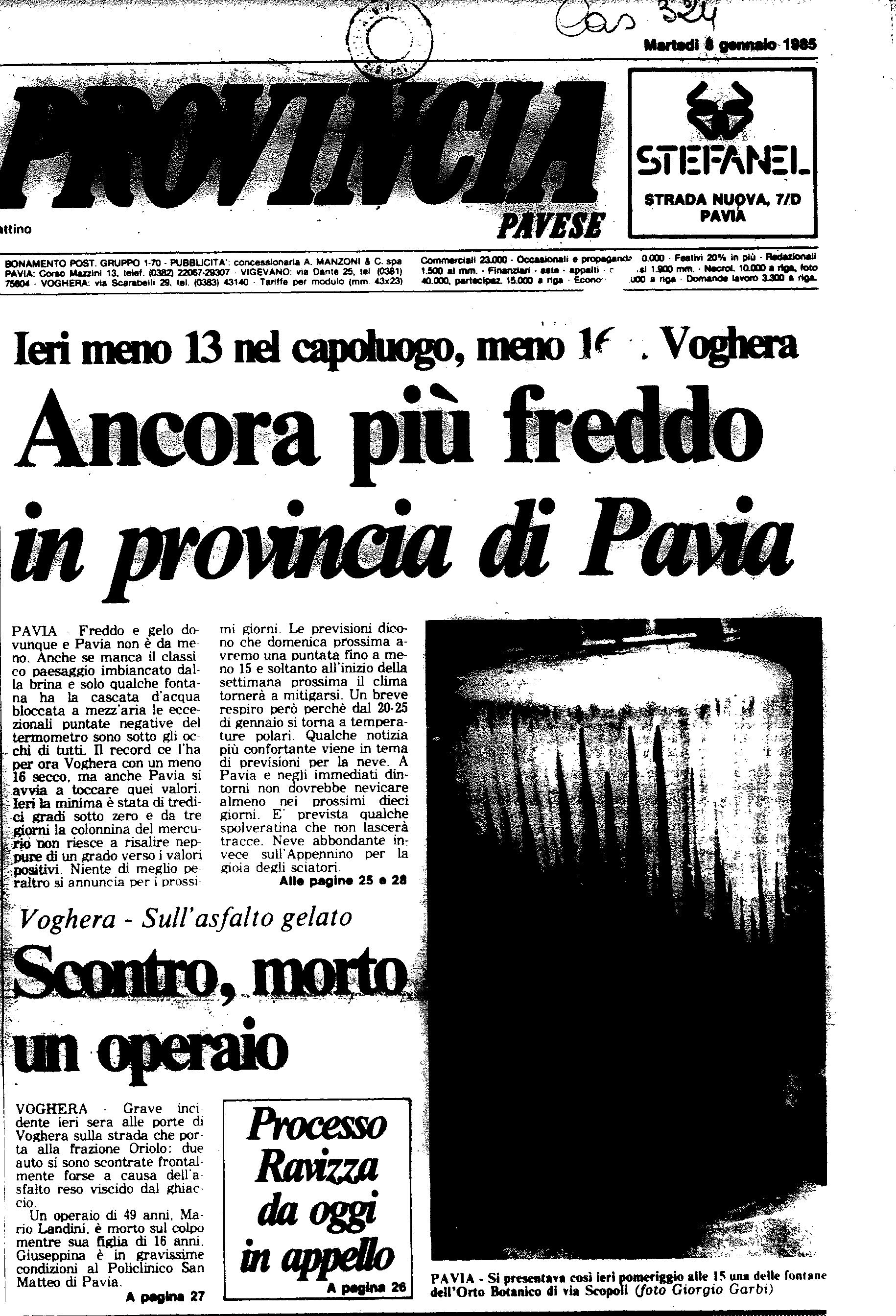 Un articolo dell' 8 Gennaio 1985 de