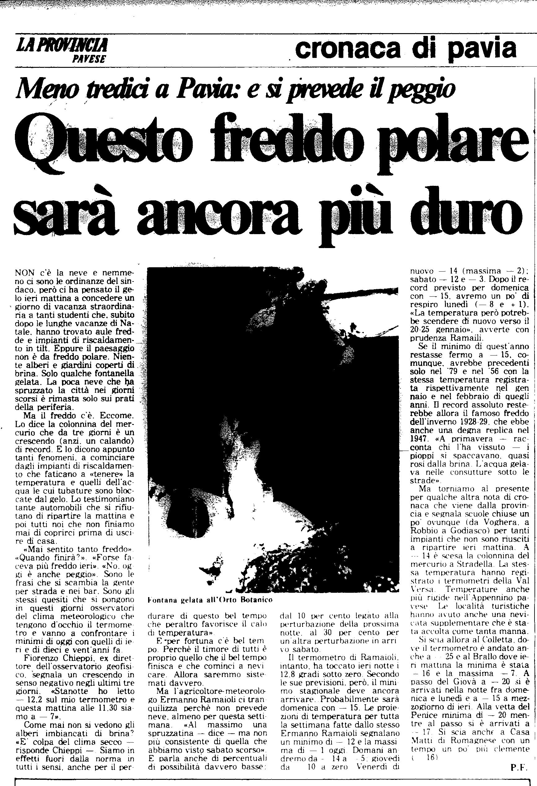 Un altro articolo dell' 8 Gennaio 1985 de