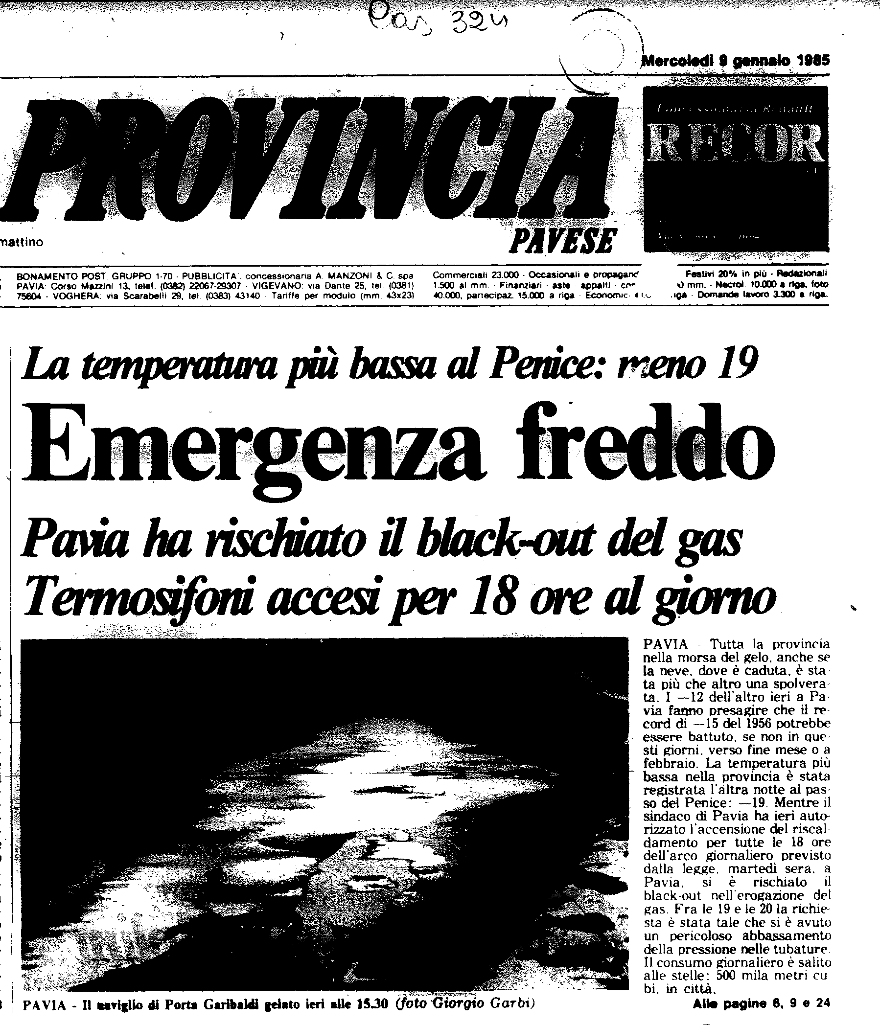 Un articolo del 9 Gennaio 1985 de