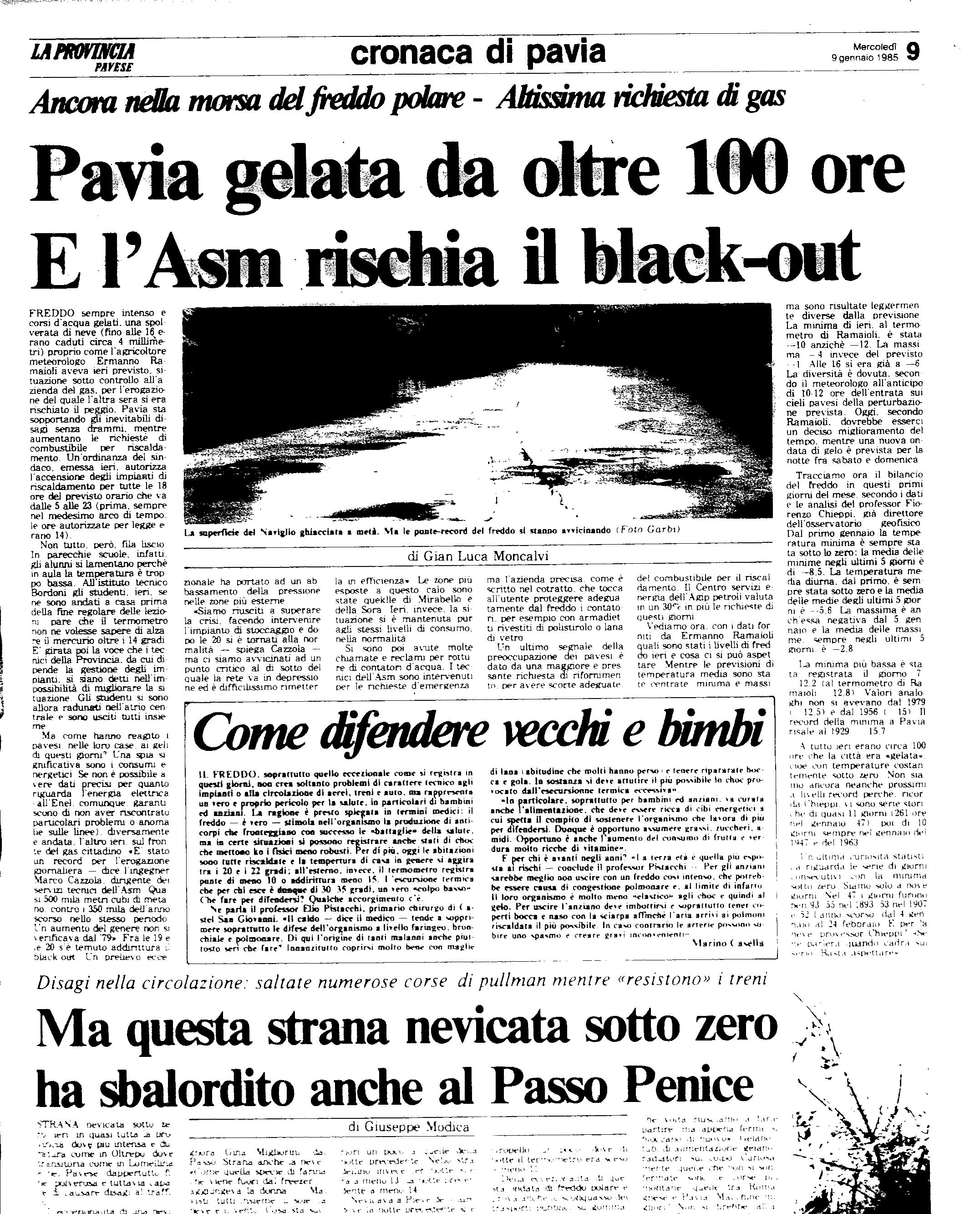 Un altro articolo del 9 Gennaio 1985 de