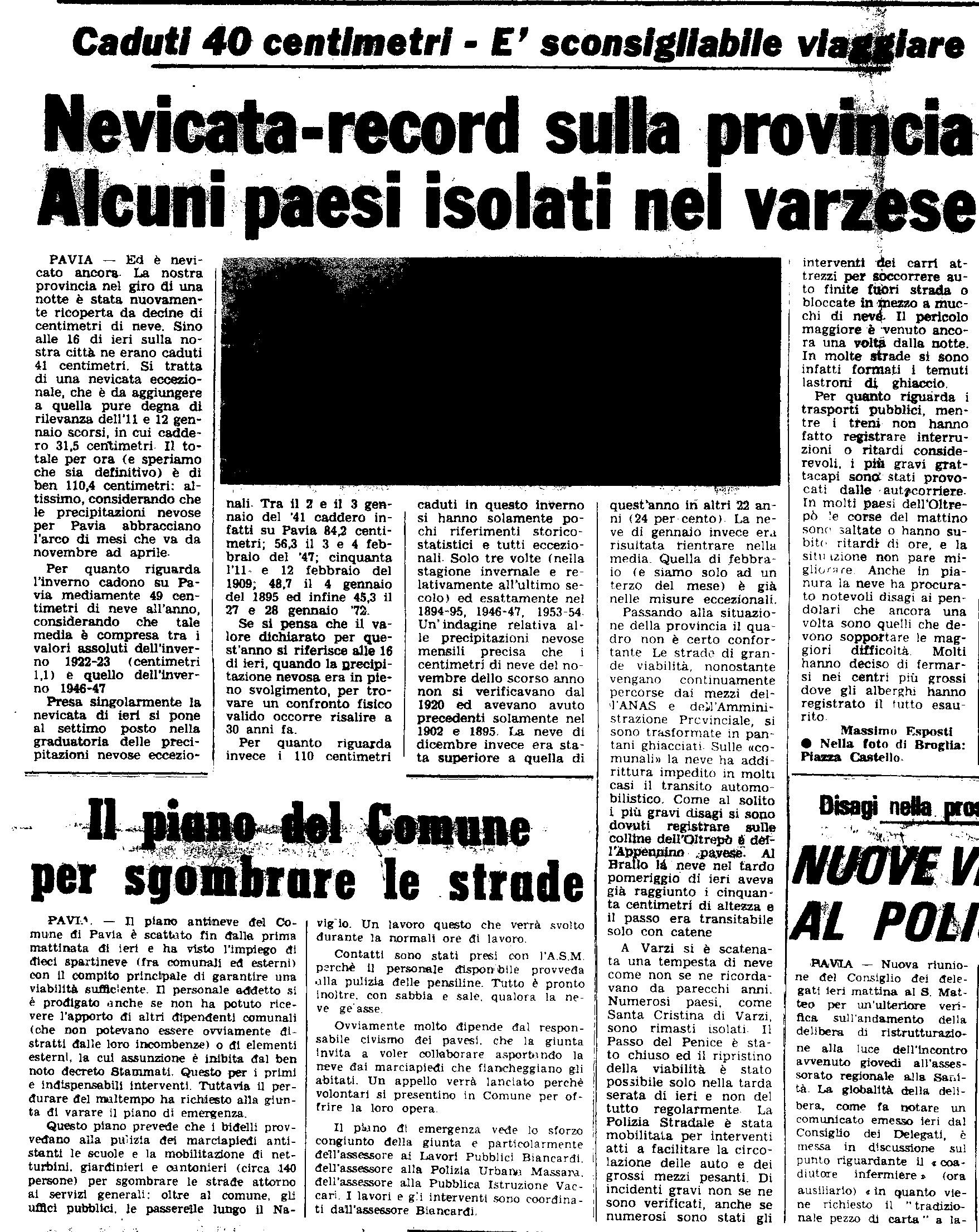 La nevicata dell'11 Febbraio 1978, ripresa da un articolo de
