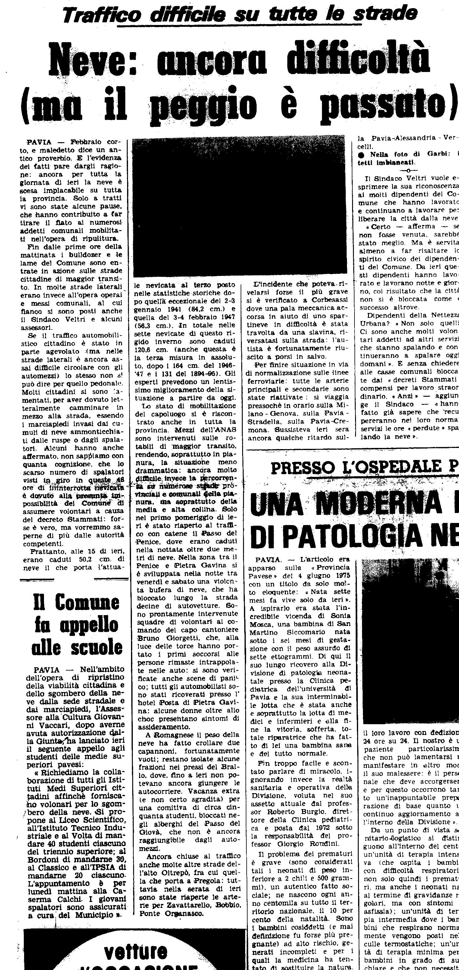 La nevicata del 12 Febbraio 1978, ripresa da un articolo de