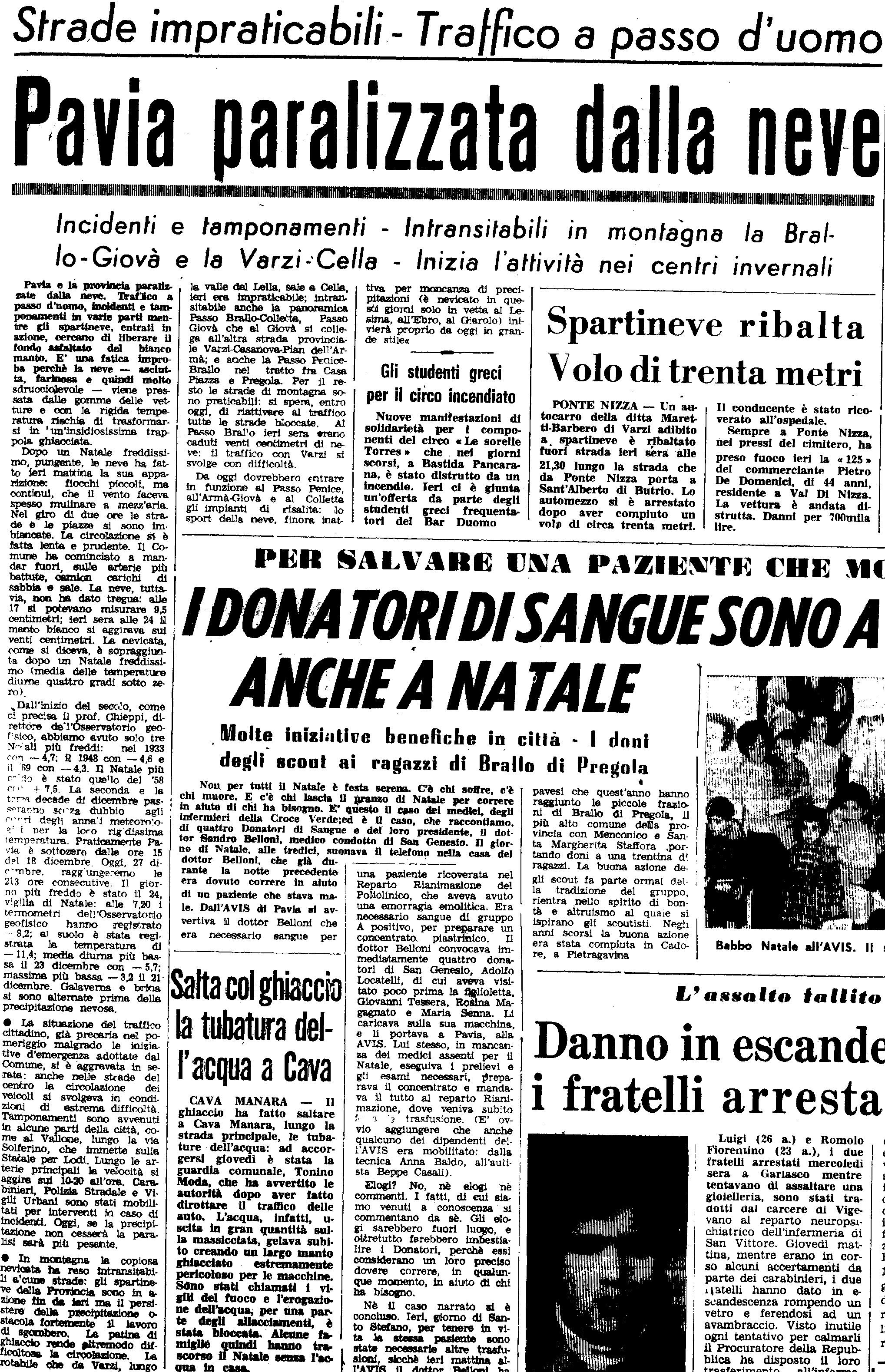 La nevicata del 27 Dicembre 1970 ripresa da un articolo de