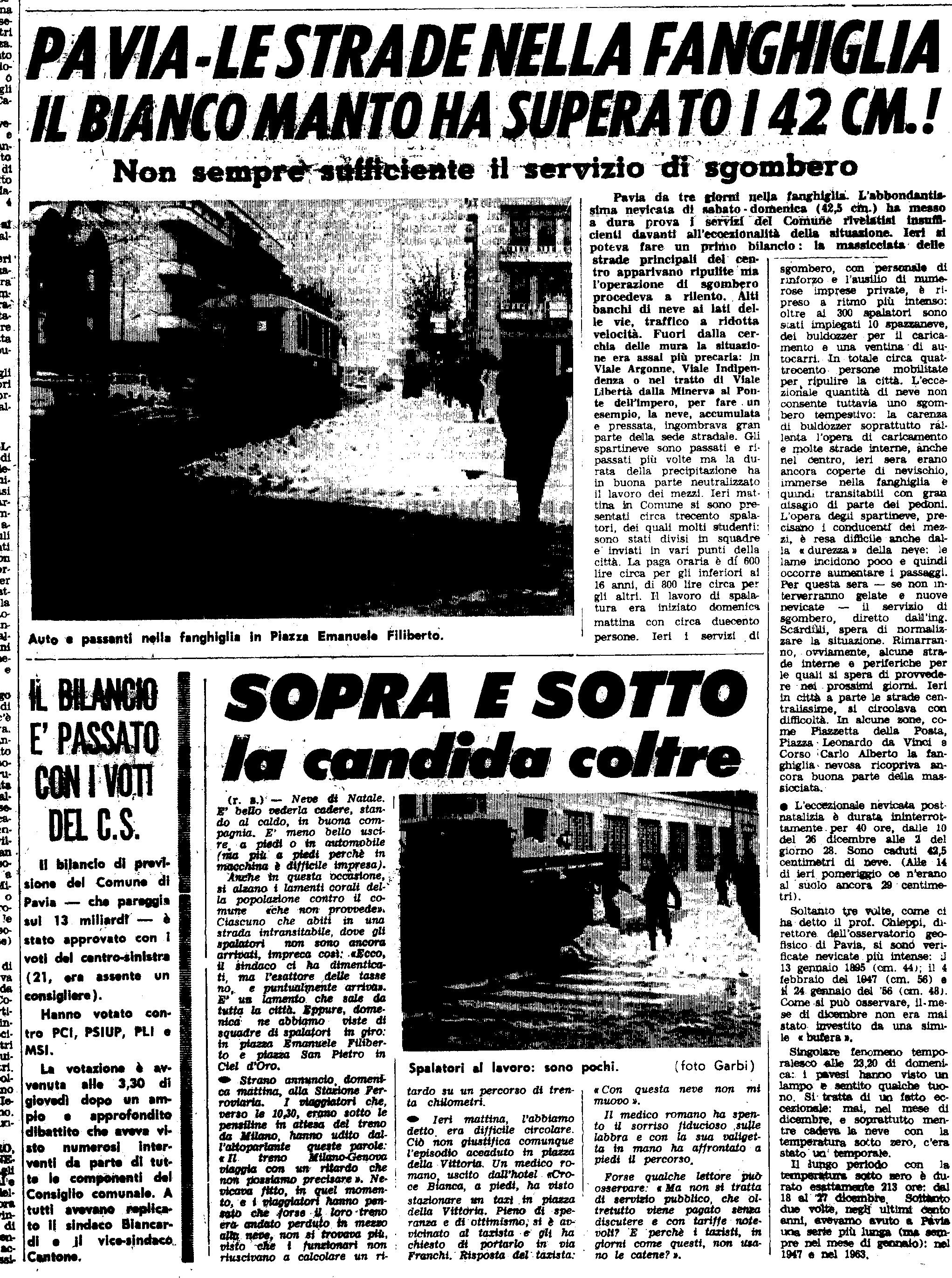 La nevicata del 29 Dicembre 1970 ripresa da un articolo de