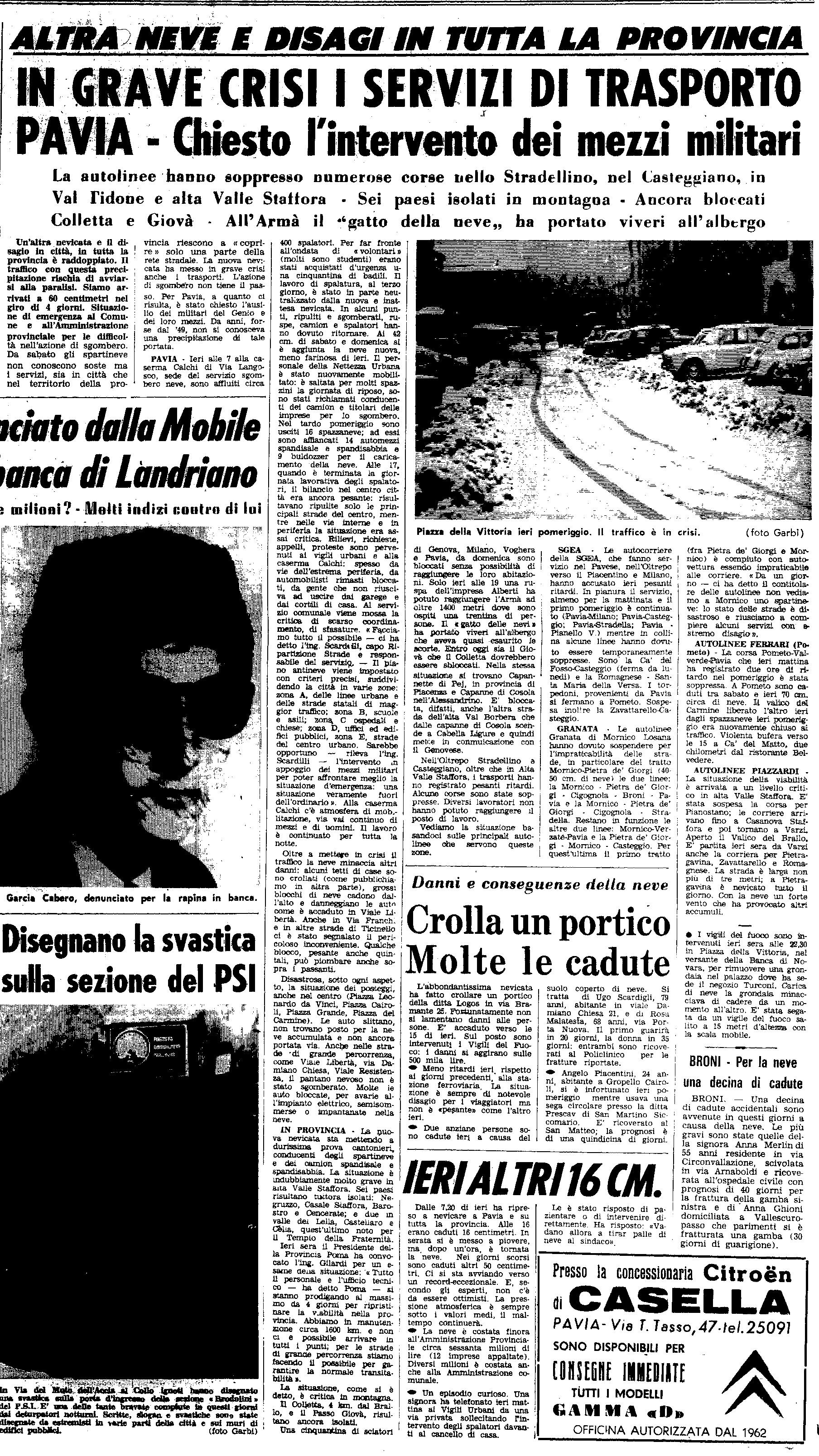 La nevicata del 30 Dicembre 1970 ripresa da un articolo de