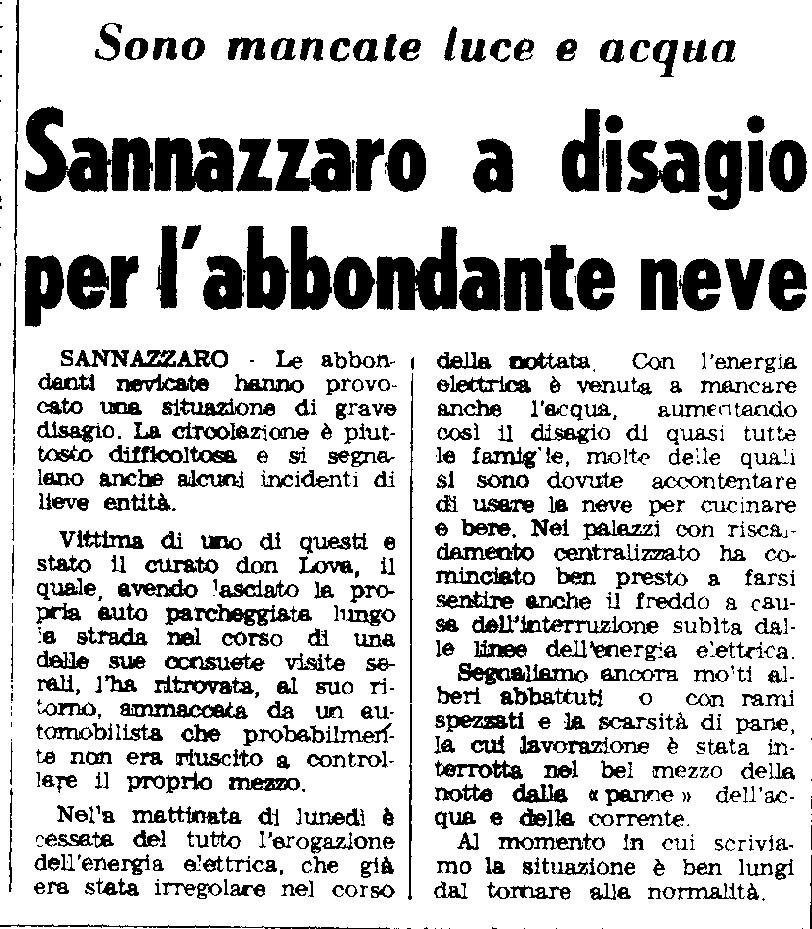 La nevicata del 30 Dicembre 1970 riguardante Sannazzaro, ripresa da un articolo de