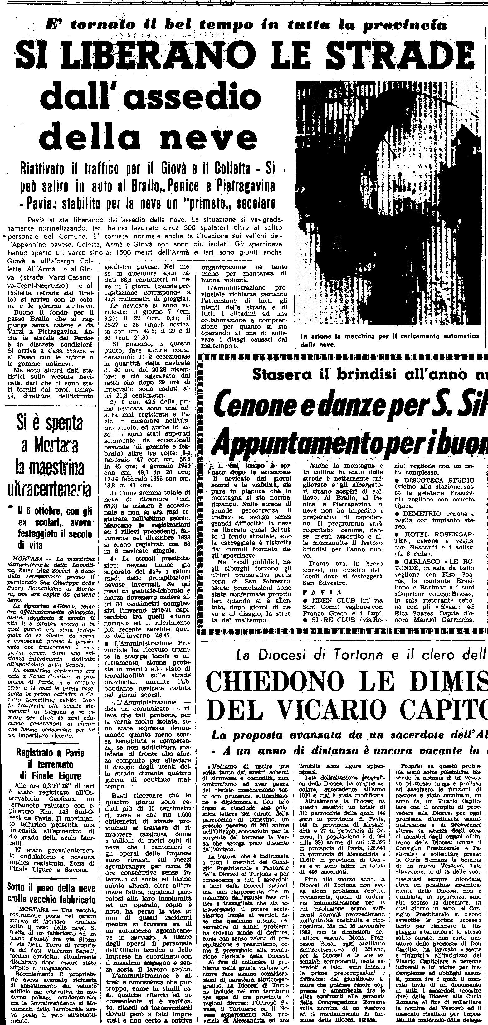La nevicata del 31 Dicembre 1970, ripresa da un articolo de