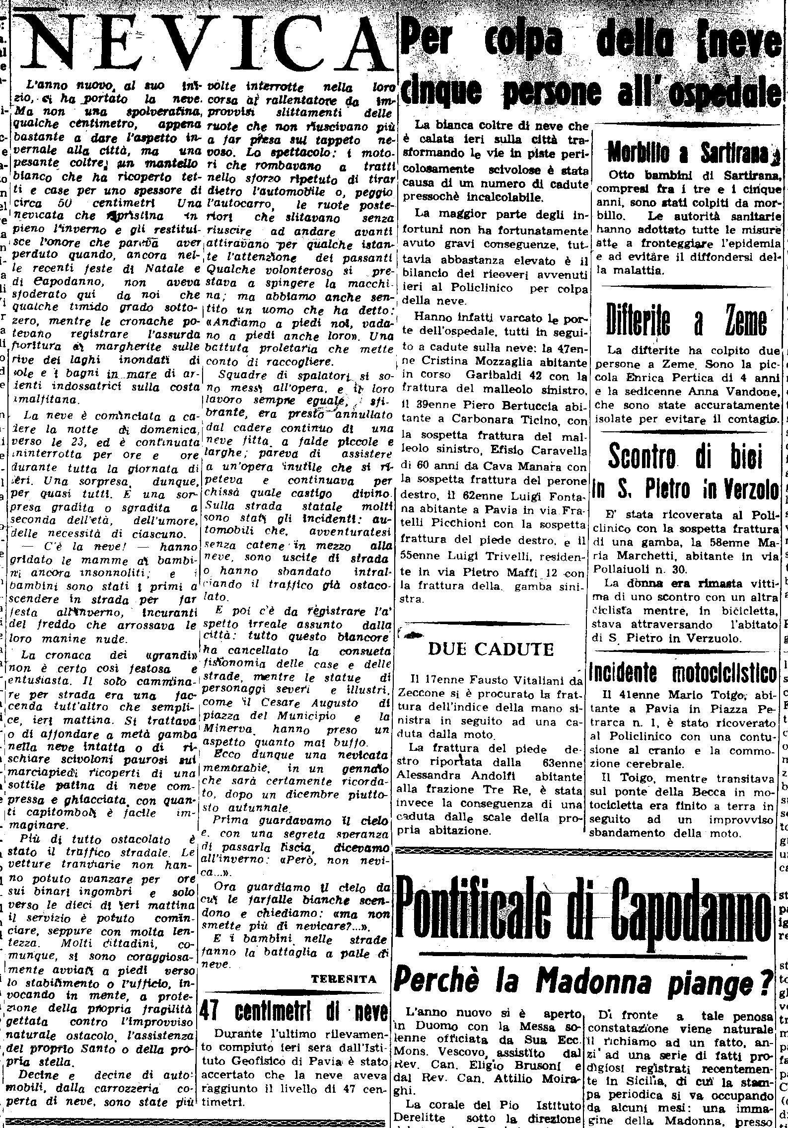 La nevicata del 5 Febbraio 1954 ripresa da un articolo de