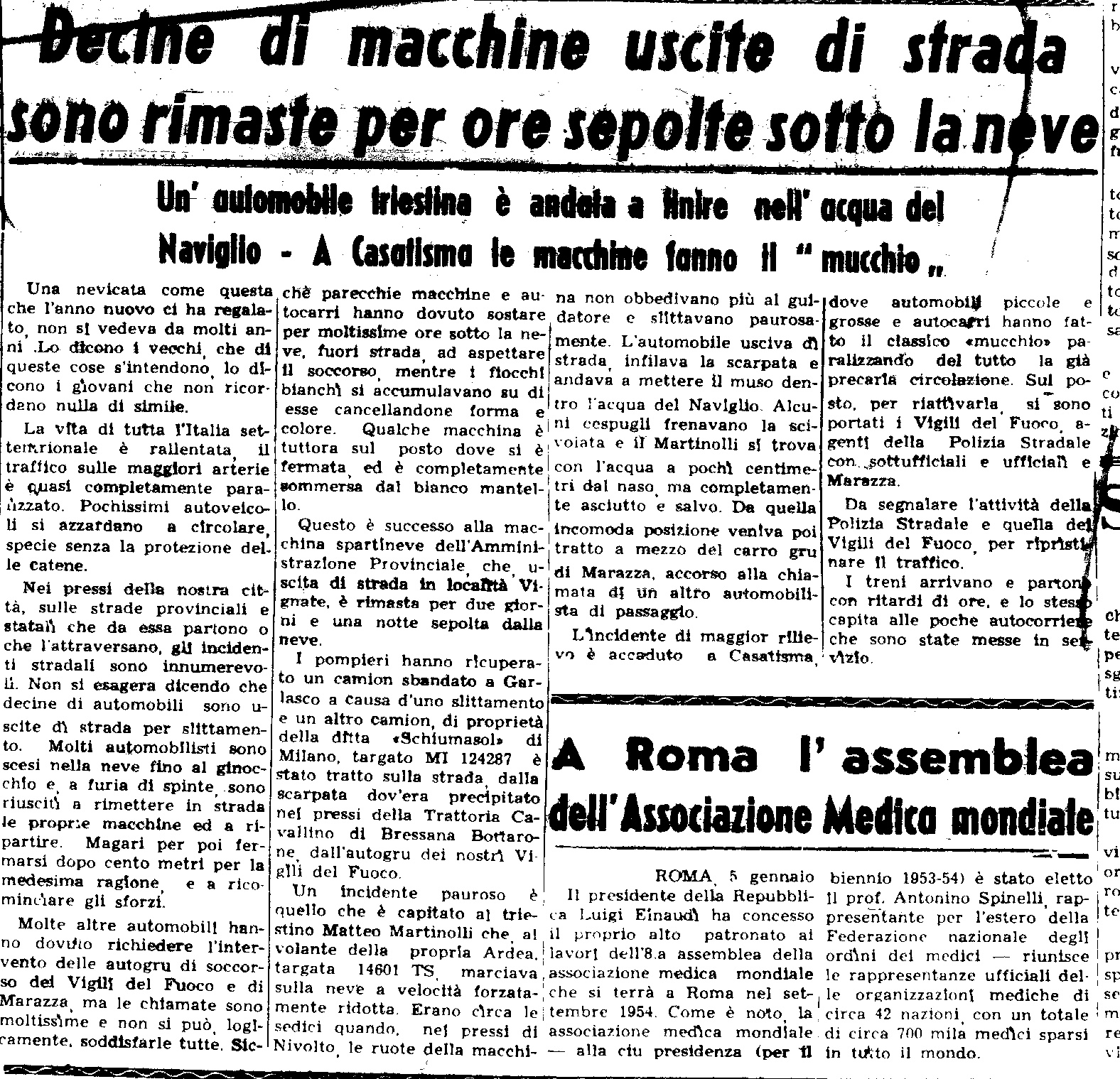 La nevicata del 6 Febbraio 1954 ripresa da un articolo de